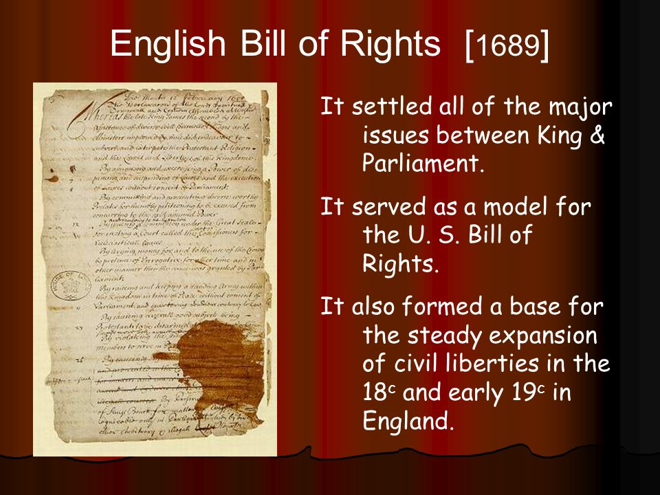 the bill of rights of 1689 The bill of rights 1689 the document that follows is the text of the bill of rights an act for declaring the rights and liberties of the subject and settling the succession of the crown.